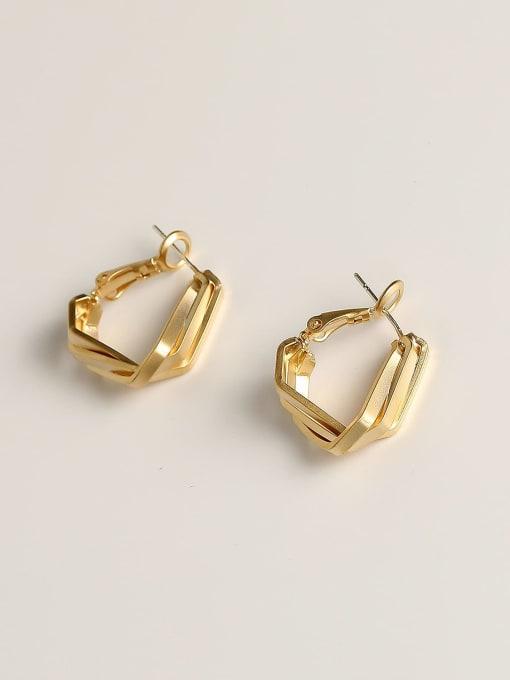 HYACINTH Brass Geometric Minimalist Huggie Earring 0