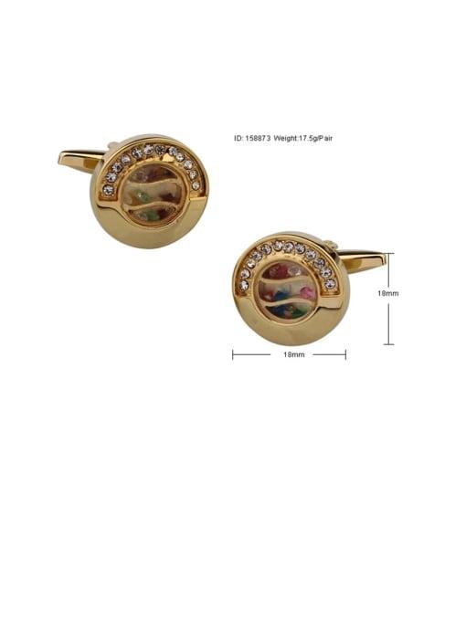 ThreeLink Brass Rhinestone Round Vintage Cuff Link 2