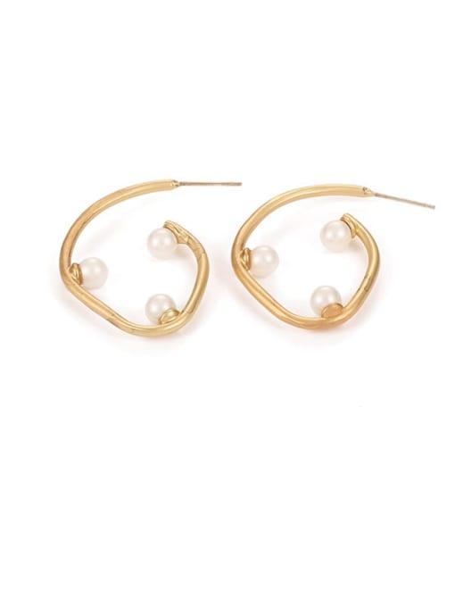 Five Color Brass Imitation Pearl Geometric Minimalist Stud Earring 0