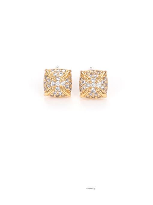Zircon Earrings Brass Cubic Zirconia Geometric Minimalist Stud Earring