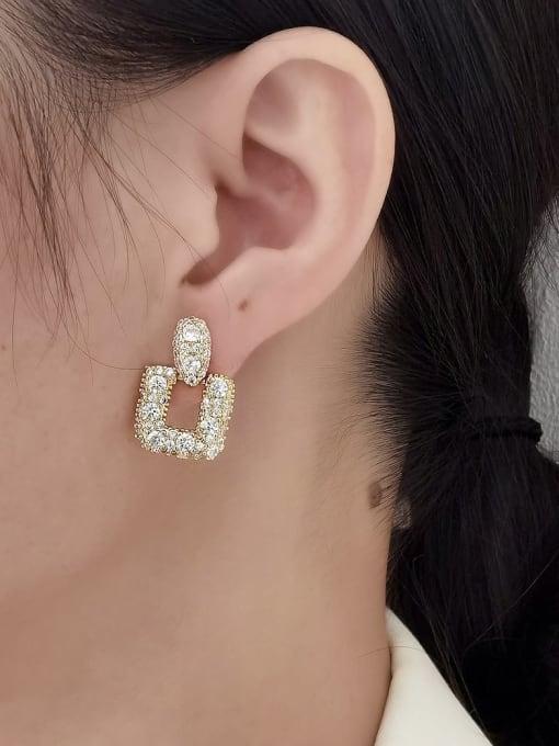 HYACINTH Brass Cubic Zirconia Geometric Luxury Drop Earring 1