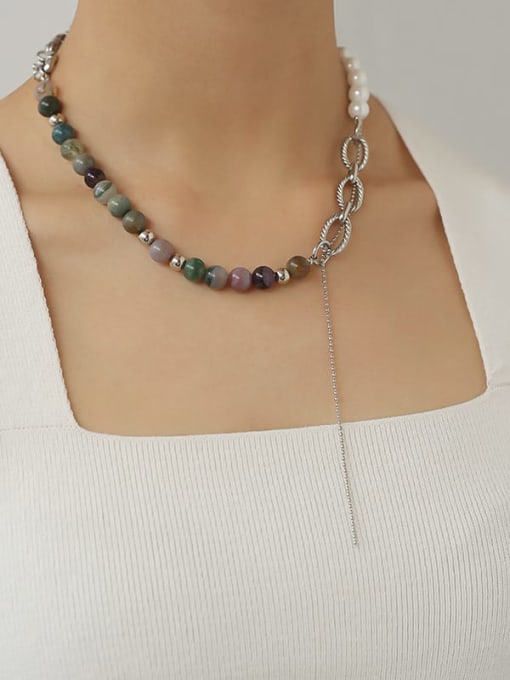 TINGS Brass Glass Stone Geometric Vintage Beaded Necklace 1