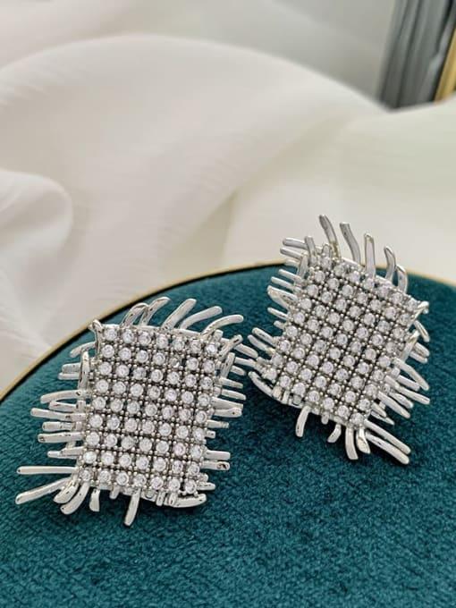 SUUTO Brass Cubic Zirconia Geometric Luxury Stud Earring 1