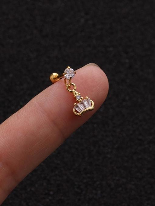 Gold 1#(Single) Brass Cubic Zirconia Geometric Cute Stud Earring