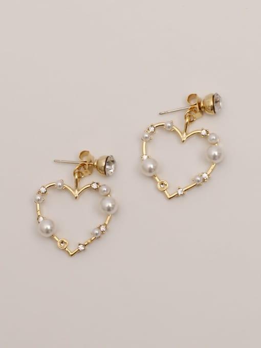 HYACINTH Brass Imitation Pearl Heart Vintage Drop Earring 3