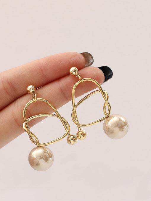 HYACINTH Brass Imitation Pearl Geometric Minimalist Drop Earring 1