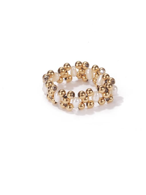 Golden copper bead Brass Imitation Pearl Geometric Vintage Stackable Ring