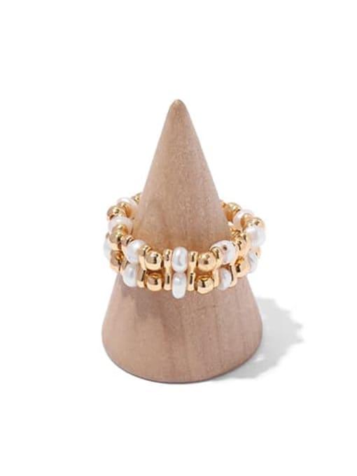 2 gold Brass Imitation Pearl Geometric Hip Hop Band Ring
