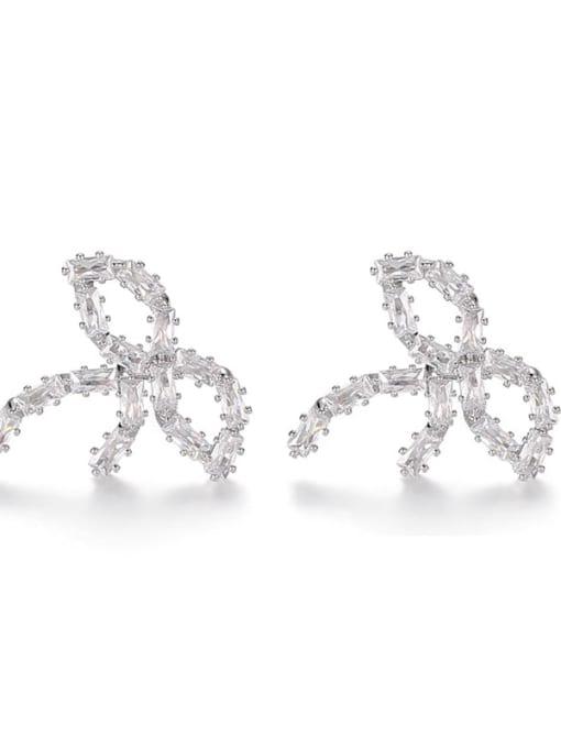 Bow Earrings Brass Cubic Zirconia Bowknot Hip Hop Stud Earring