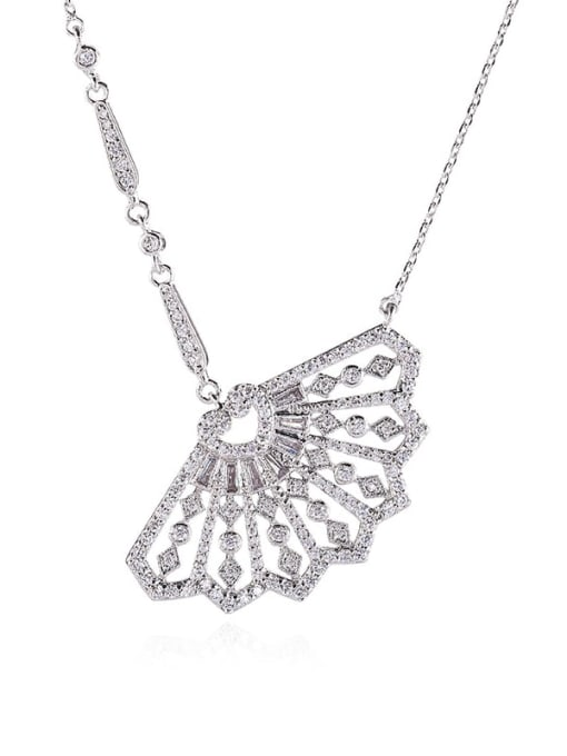 YILLIN Brass Cubic Zirconia Irregular Minimalist Necklace 0