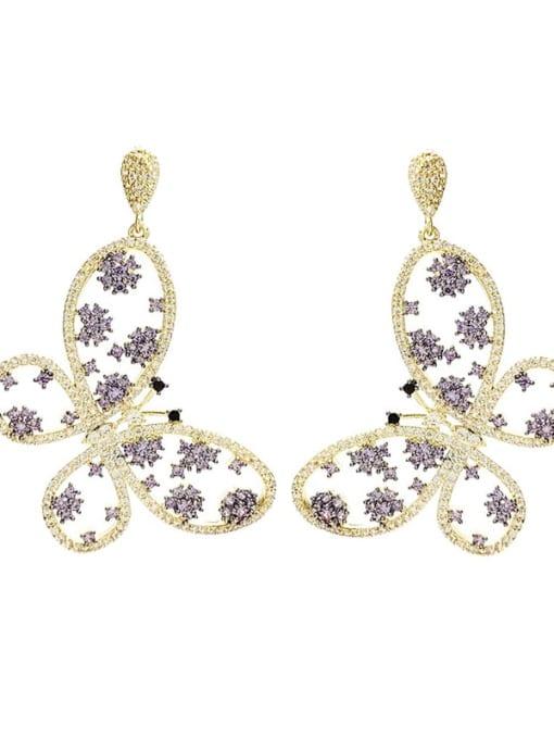 purple Brass Cubic Zirconia Butterfly Luxury Drop Earring