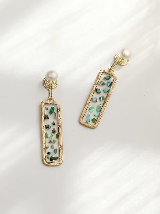 Dumb gold green Brass Geometric Minimalist Drop Earring