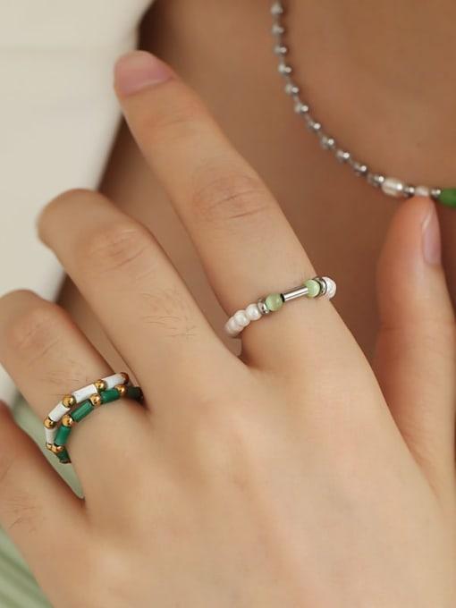 TINGS Brass Imitation Pearl Geometric Minimalist Bead Ring 4