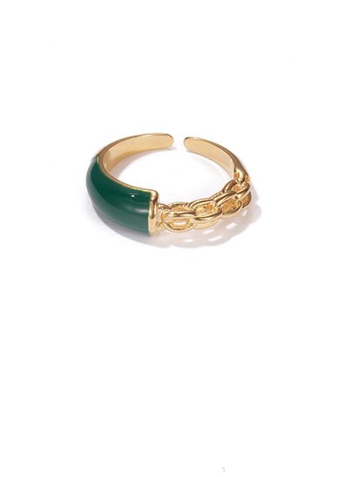Green oil dripping ring Brass Enamel Geometric Minimalist Band Ring
