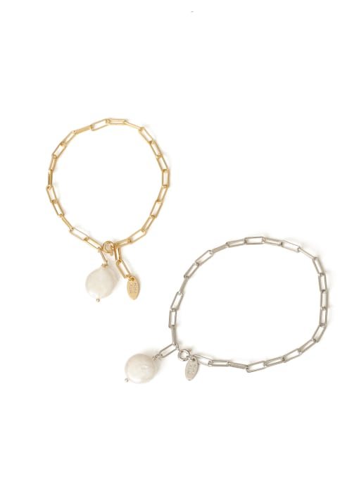 TINGS Brass Freshwater Pearl Geometric Chain Minimalist Link Bracelet 3