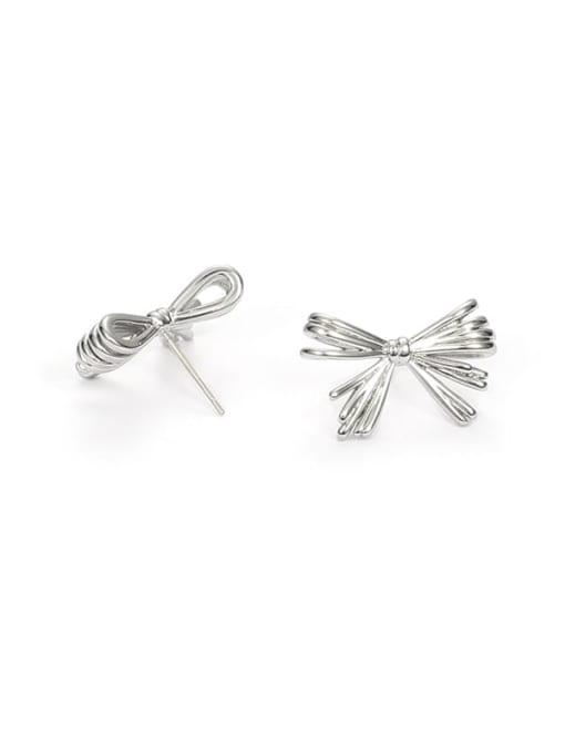 Platinum Brass Rhinestone Bowknot Minimalist Stud Earring