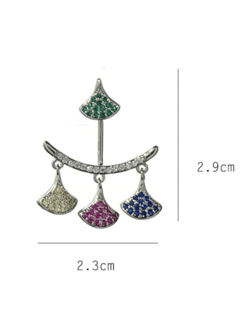 SUUTO Brass Cubic Zirconia Geometric Minimalist Drop Earring 2