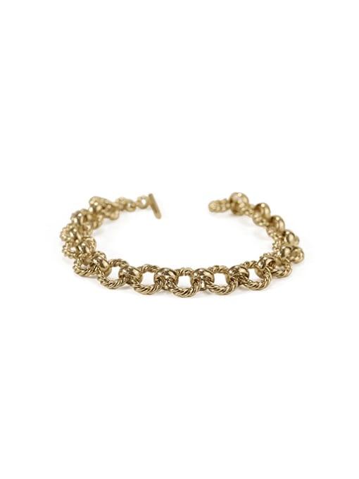 ACCA Brass hollow Geometric  chain Artisan Link Bracelet