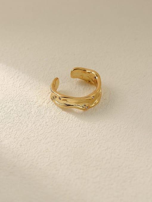 HYACINTH Brass Geometric Minimalist Band Ring 0