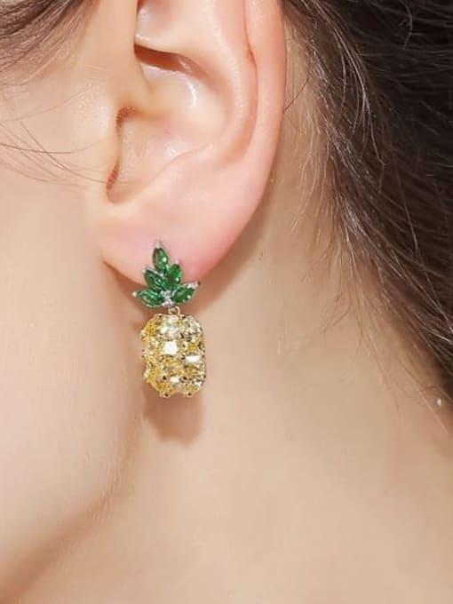 OUOU Brass Cubic Zirconia Friut Luxury Drop Earring 1