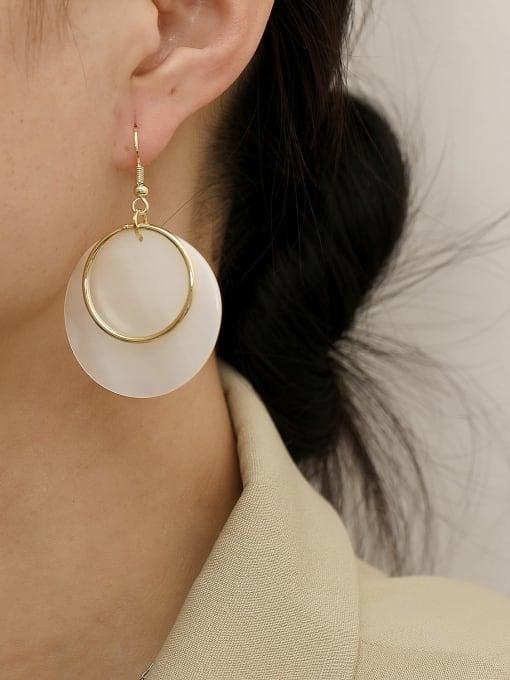HYACINTH Brass Shell Geometric Minimalist Hook Earring 2