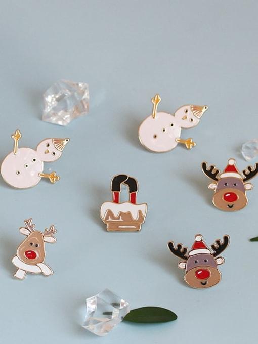 Five Color Alloy Enamel Asymmetry Deer Snowman Cute Stud Earring
