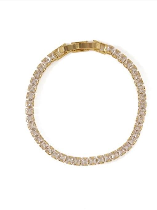 Gold Bracelet Brass Cubic Zirconia Geometric Dainty Bracelet