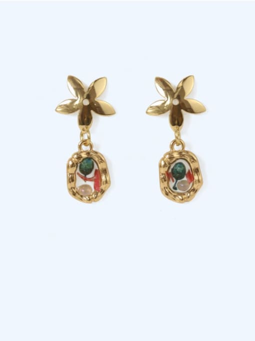 Five Color Alloy Enamel Geometric Vintage Drop Earring 3