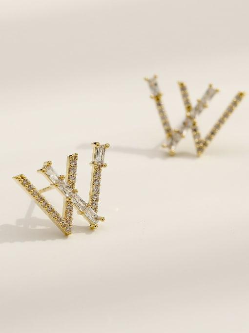 14k Gold Brass Cubic Zirconia Letter W Vintage Stud Earring