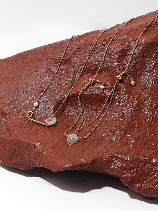 TINGS Brass Bead Geometric Hip Hop Multi Strand Necklace 3