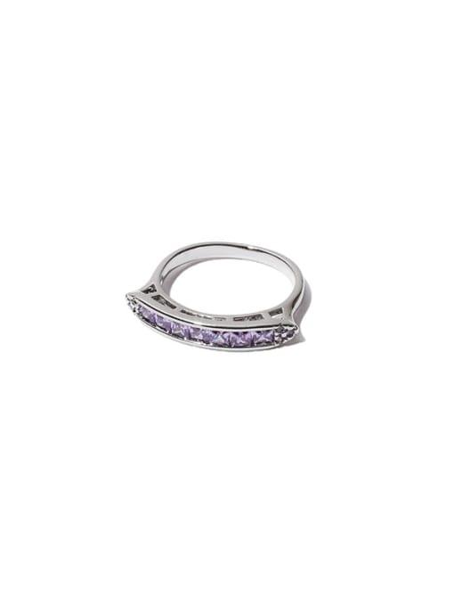 TINGS Brass Cubic Zirconia Geometric Minimalist Band Ring