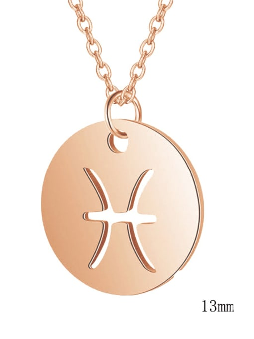 Pisces rose gold Titanium Steel Constellation Minimalist  Round Pendant Necklace