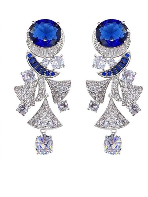 OUOU Brass Cubic Zirconia Irregular Luxury Cluster Earring 0