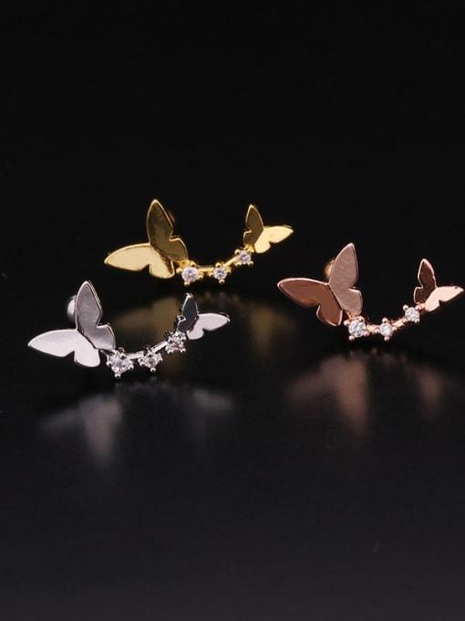 HISON Brass Cubic Zirconia Flower Hip Hop Stud Earring 4