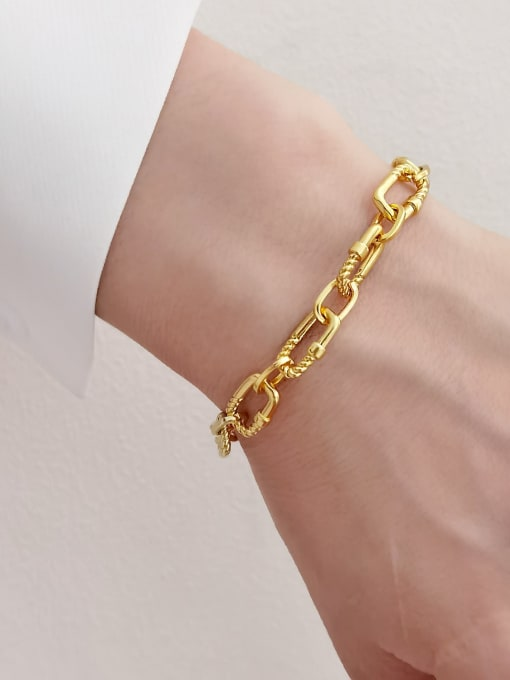 HYACINTH Brass Hollow Geometric  China Vintage Link Bracelet 2