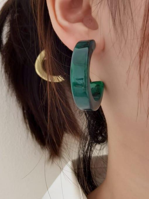 HYACINTH Brass Resin Geometric Minimalist Stud Earring 1