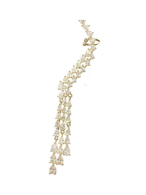 Single left ear Brass Cubic Zirconia Tassel Trend Single Earring