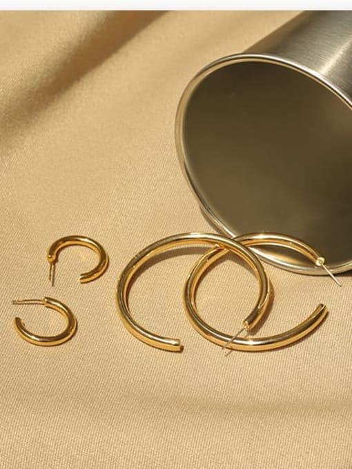 ACCA Brass Smooth Geometric Minimalist Hoop Earring 3