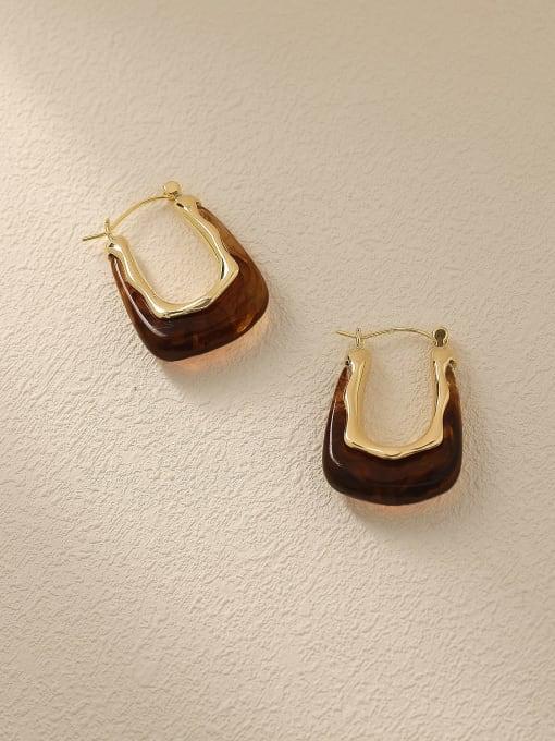 14K golden +coffee Brass Resin Geometric Vintage Drop Trend Korean Fashion Earring