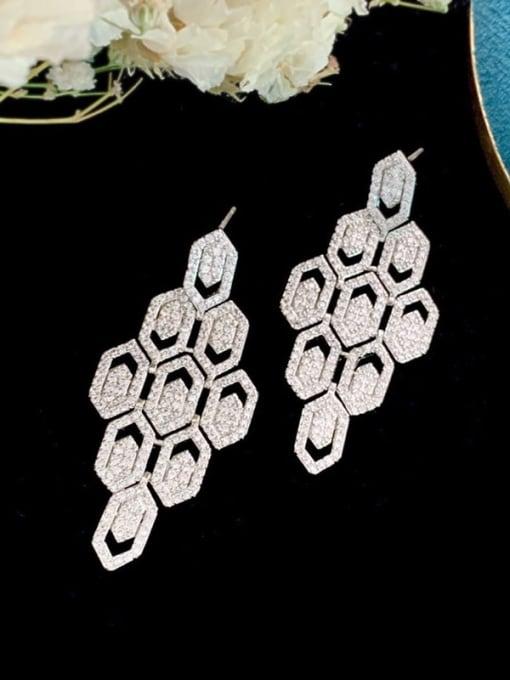 SUUTO Brass Cubic Zirconia Geometric Hip Hop Cluster Earring 3