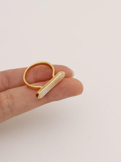 HYACINTH Brass Shell Geometric Minimalist Band Ring