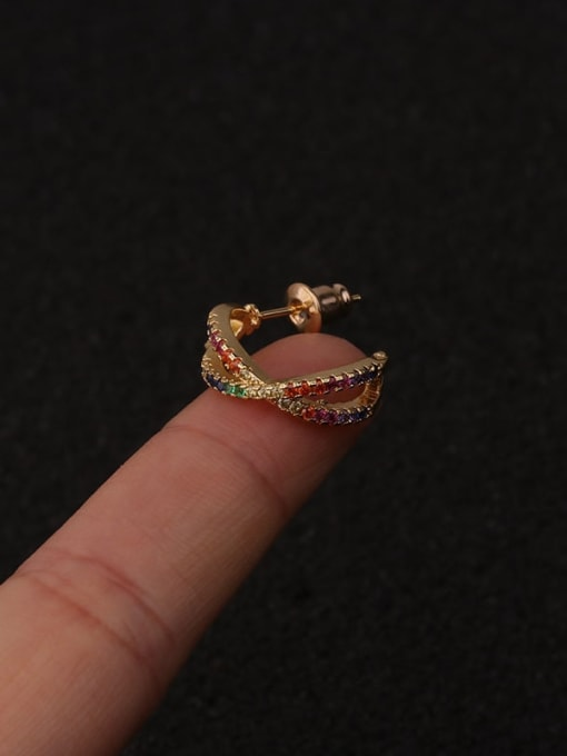 HISON Brass Cubic Zirconia Star Hip Hop Huggie Earring 1