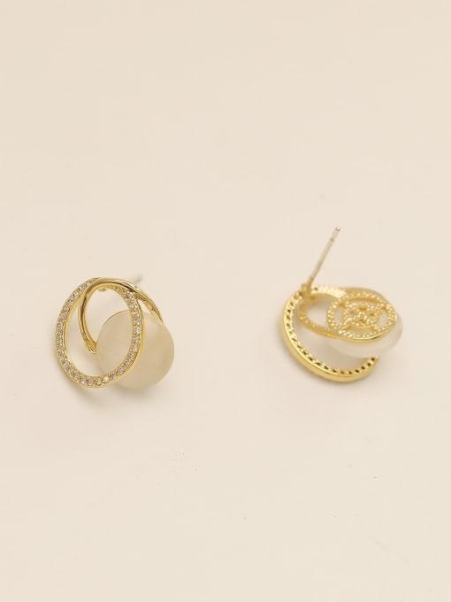 HYACINTH Brass Cats Eye Geometric Minimalist Stud Earring 4