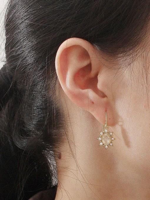 HYACINTH Brass Imitation Pearl Geometric Vintage Hook Earring 2