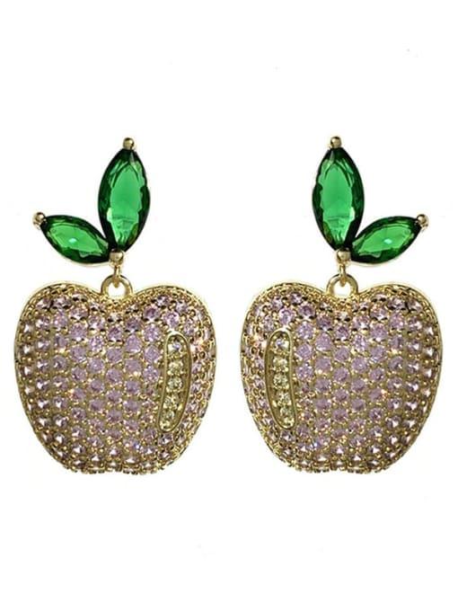 Golden pink Brass Cubic Zirconia Friut Vintage Stud Earring