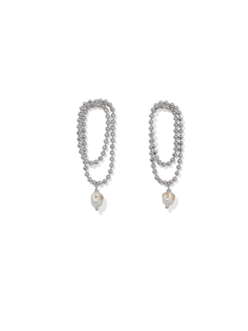 Platinum Brass Bead Tassel Vintage Drop Earring