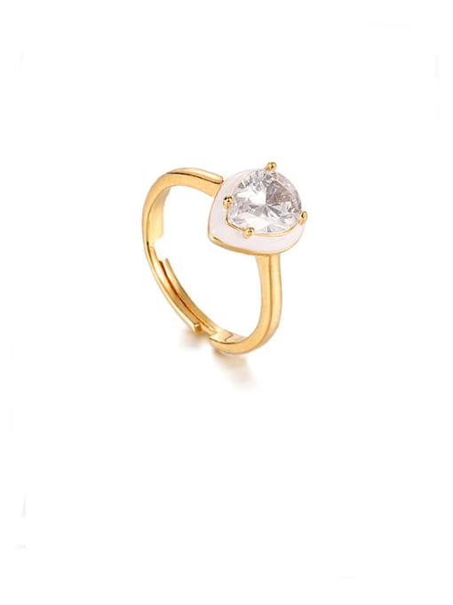 White oil dripping ring Brass Enamel Cubic Zirconia Water Drop Vintage Band Ring