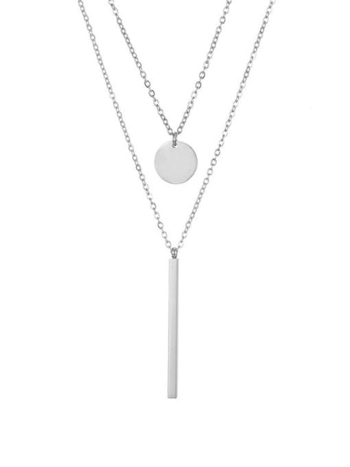 Steel color Titanium Steel  Minimalist Geometric Pendant Multi Strand Necklace