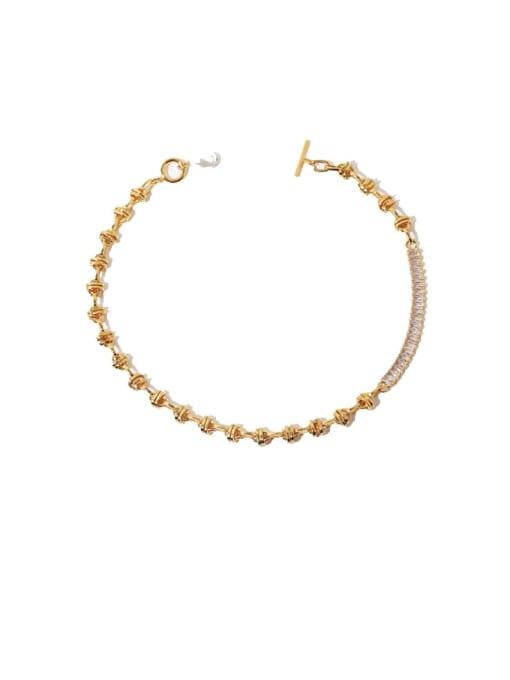 golden Brass Imitation Pearl Geometric Vintage Necklace