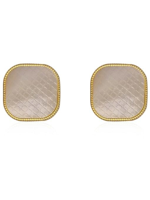 HYACINTH Brass Shell Geometric Minimalist Stud Earring 0